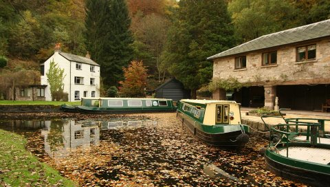 река, лодка, осень, листва