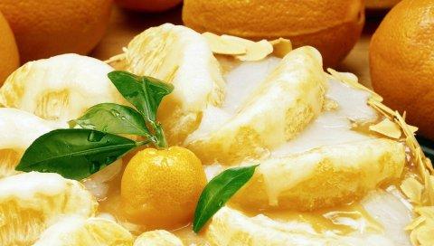 пирог, торт, десерт, лимон, апельсин