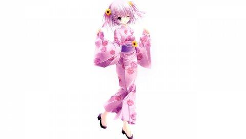 девушка, кимоно, платье, розовый