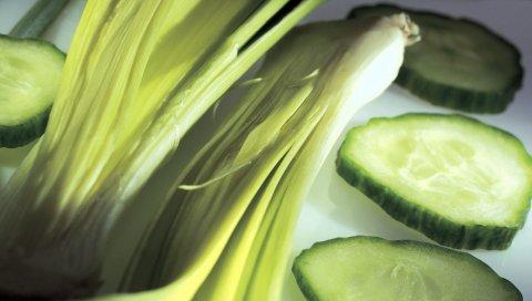 огурцы, зелень, вкусный, полезный