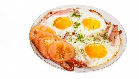 яйца, яичница, омлет, помидоры