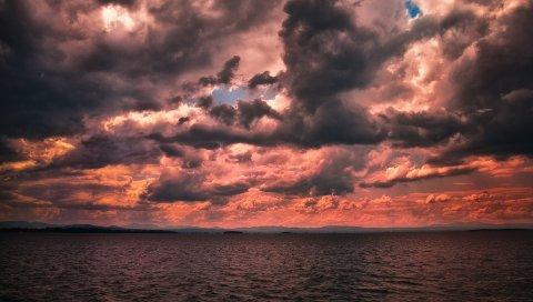 море, небо, облака, ночные