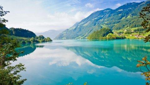 озеро, красивое, лето, небо, дерева