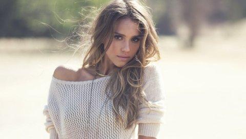 Джессика Альба, девушка, модель, фотосессия , свитер