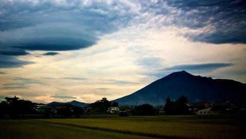 горы, небо, траву, облако