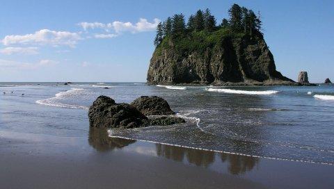 море, блок, камень, пляж, песок