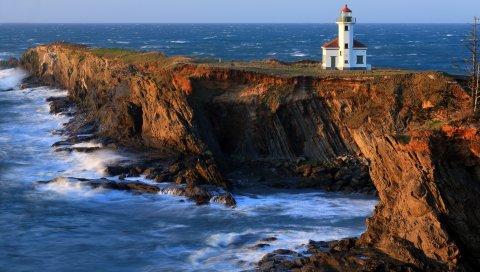 маяк, море, пирс, камни
