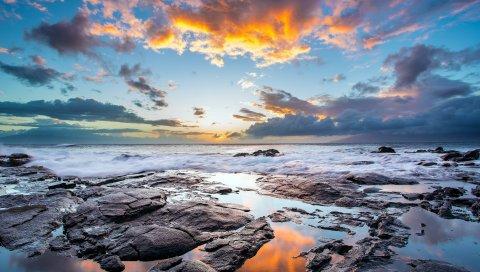 море, закат, свет, небо, скалы