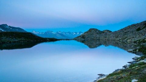 озеро, небо, свет, горы