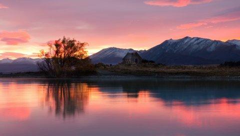 река, озеро, рассвет, красиво