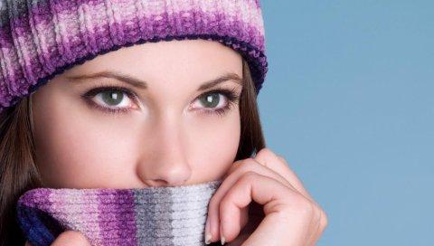 девушка, шляпа, лицо, зимний