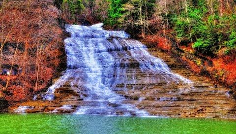 водопад, река, деревья, пейзаж, ВСД