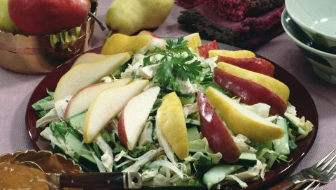 фрукты, овощи, нарезка, салат