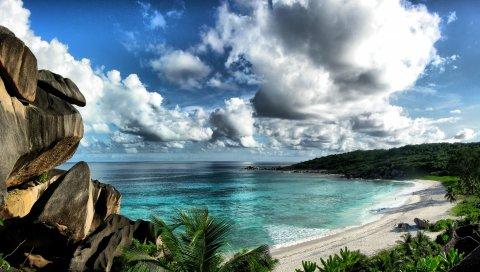 море, небо, пляж, скалы, пейзаж