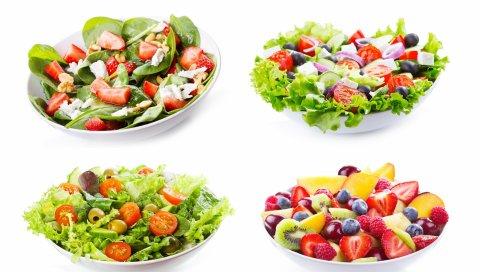 салаты, различные блюда, овощи