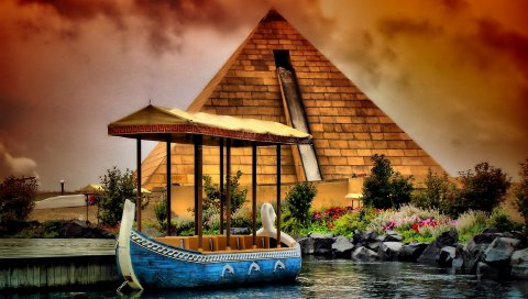 река, лодка, пирамидальные
