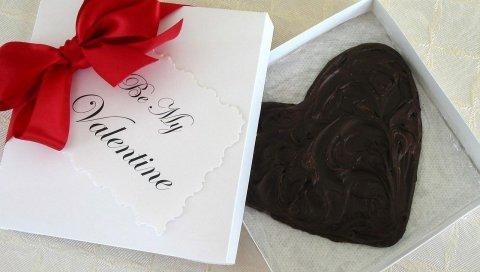 шоколад, сердце, сладкие