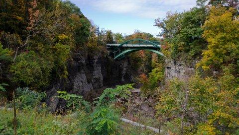 Скалы, мост, деревья, пейзаж