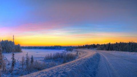Панорама, закат, дорога, зима, пейзаж