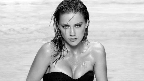 Брюнетка, девушка, плавать, взгляд, черно-белый