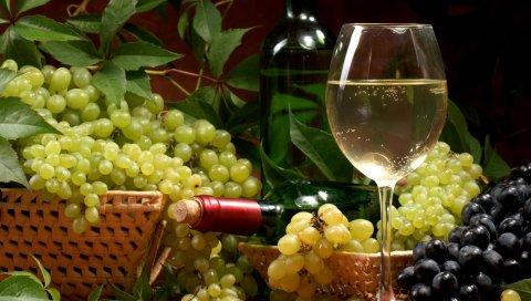 Вино, виноград, корзина