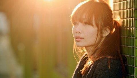 Азиатский, лицо, девушка, макияж