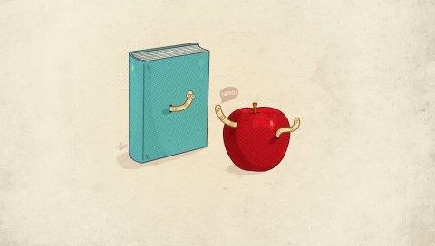 Книга, яблоко, оружие