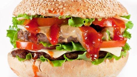 Гамбургер, булочки, мясо