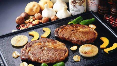 Мясо, выпечка, овощи, жарить