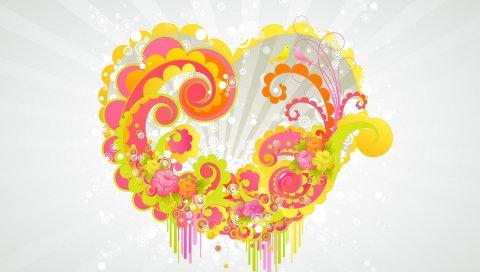 Шаблоны, цвет, красочный, сердце
