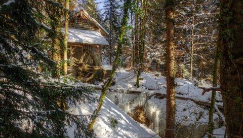 Зима, лес, река, мельница, пейзаж