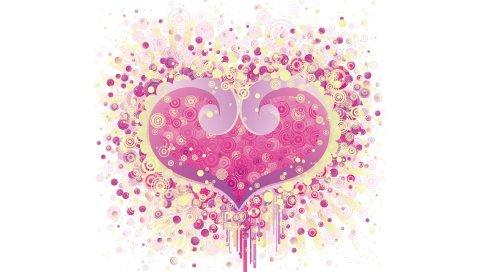 Сердце, узоры, фон, яркие