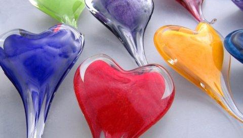 Сердце, стекло, разноцветные