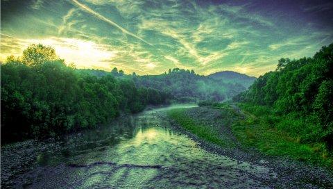 Закат, река, деревья, пейзаж