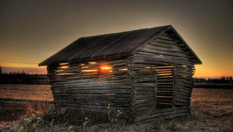 Закат, поле, дом, пейзаж
