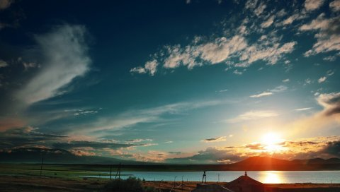 Закат, небо, облака, свет