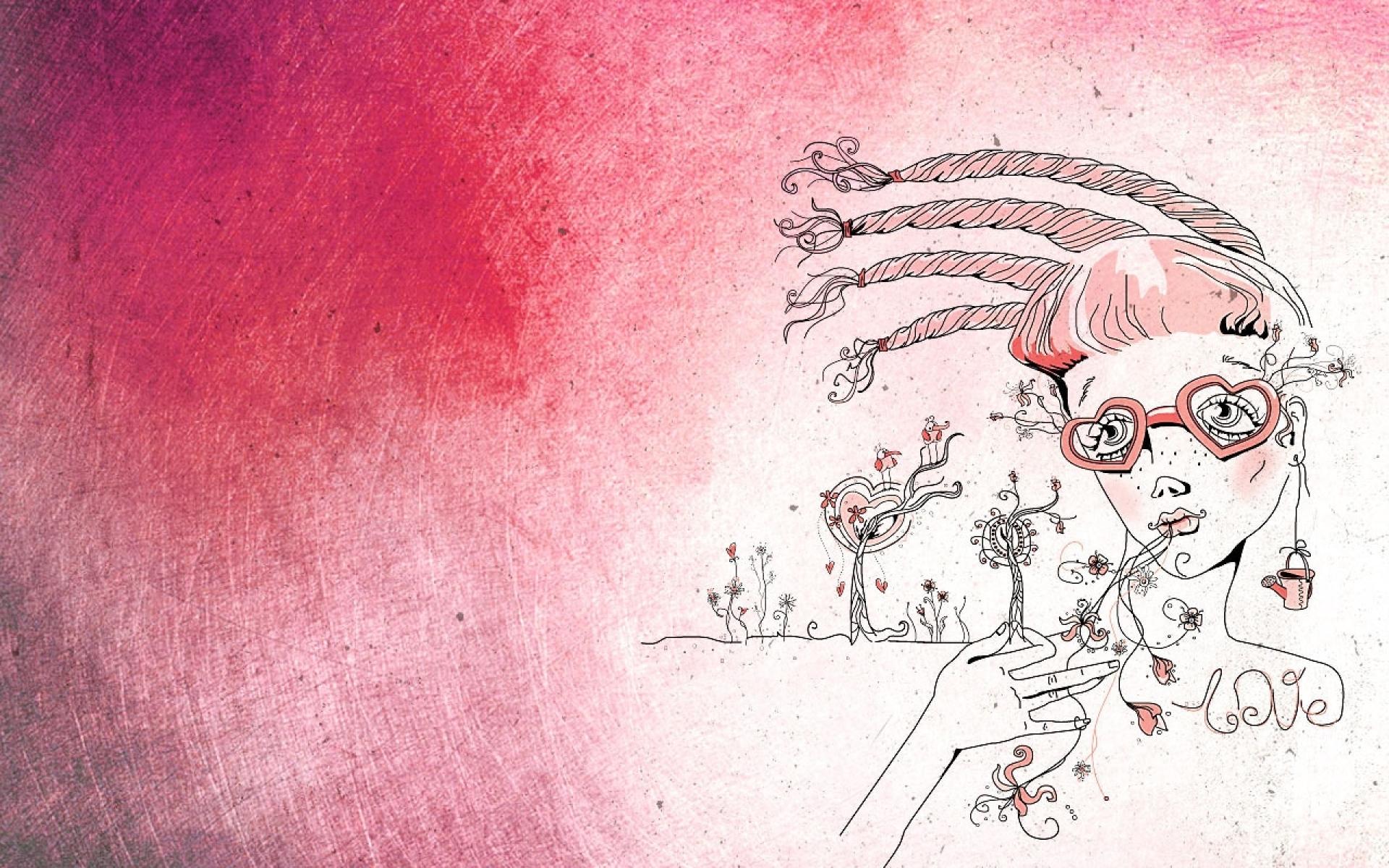 Картинки девушка, рисунок, розовые фото и обои на рабочий стол
