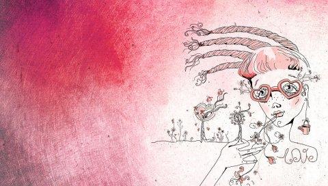 девушка, рисунок, розовые