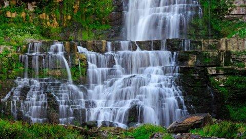 водопад, ручей, камни, пейзаж