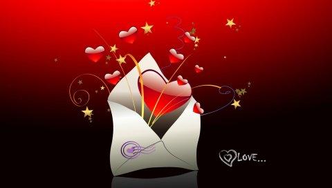 сердце, красный, конверт