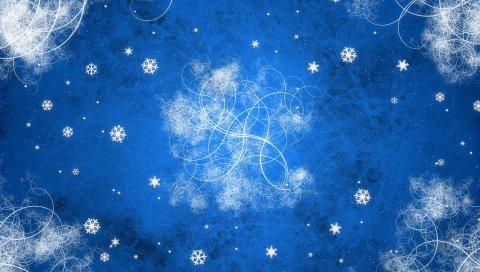 фон, узор, снежинки, новый год