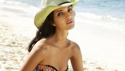 Модель, девушка, брюнетка, шляпа, песок