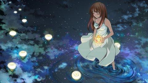 Девушка, огни, вода, звезды