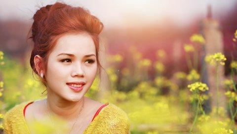 Азиатский, девушка, взгляд, макияж, улыбаясь