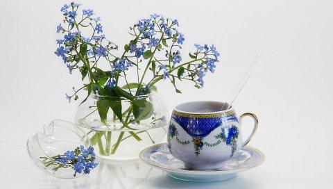 Цветы, чашка, фон
