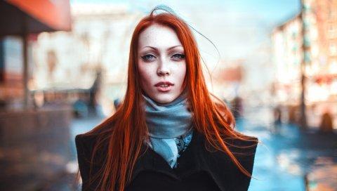 Рыжий, девушка, взгляд, город