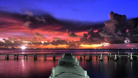 Пирс, закат, небо, вид