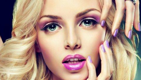 Модель, лицо, маникюр, макияж