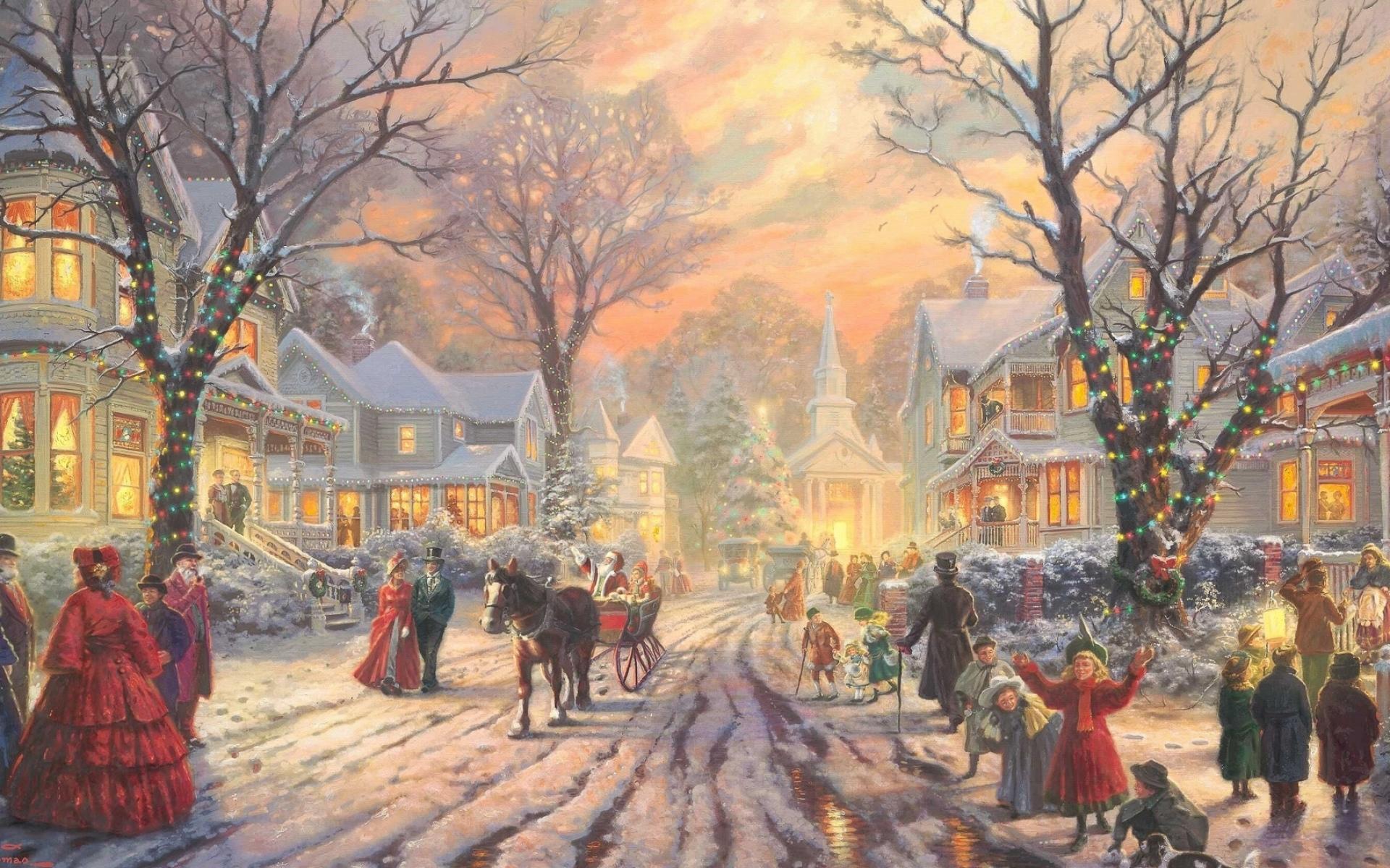 Картинки Улица, город, старый, праздник, зима фото и обои на рабочий стол