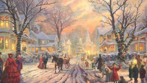 Улица, город, старый, праздник, зима